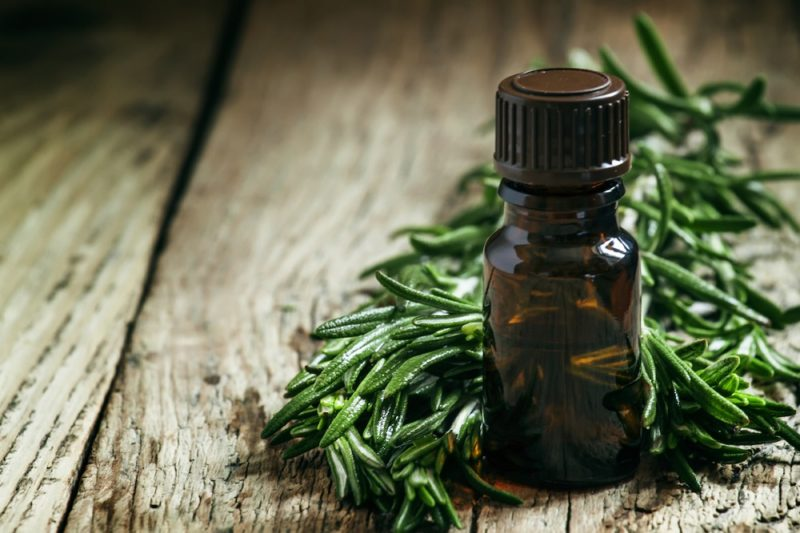 Rosemary essential oil in a small bottle and fresh rosemary on an old wooden background, selective focus